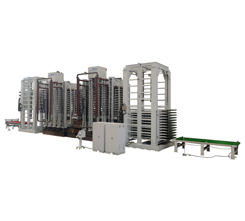 1000T Hot press unit with multila yer synchronous loading and unloading device