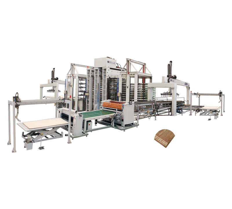 12 layers hot press with automatic assembling boards device and synchronous loading and unloading device for making 5 layers solid wood door